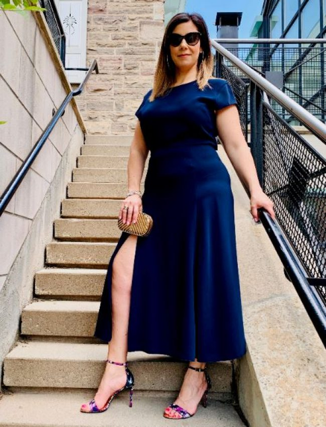 Navy Dress W Slit