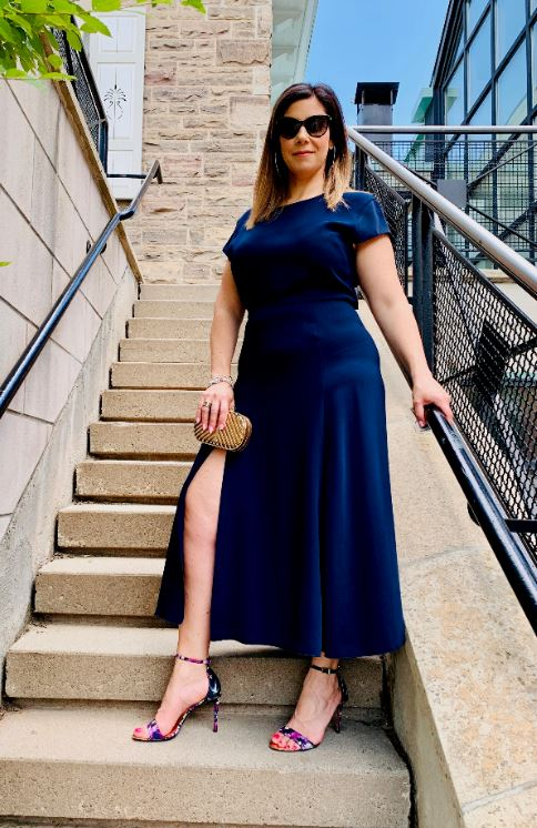 Navy Dress W Slit